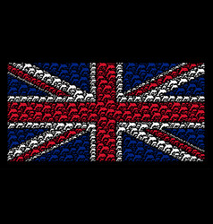 United kingdom flag mosaic of dolphin icons vector