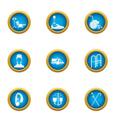 Vet icons set flat style vector