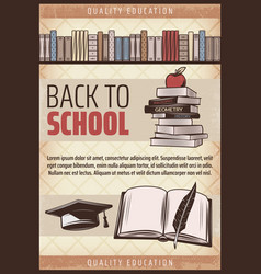 Vintage colored back to school poster vector