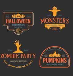 vintage set happy halloween vintage badges vector image