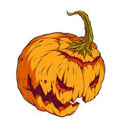 volumetric drawing of a creepy pumpkin on a vector image