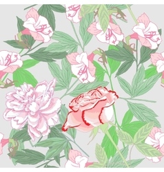 White seamless pattern with peonies and rose vector