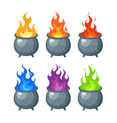 Witches cauldron icon in flat style vector