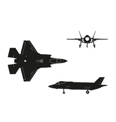 black silhouette of military aircraft vector image