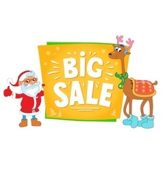 Christmas sale design santa claus and deer with vector