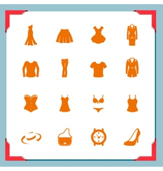 Clothing icons women in a frame series vector image vector image