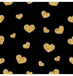 Golden hearts seamless pattern 1 black vector image