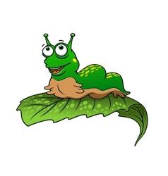 Green cartoon caterpillar insect vector image vector image