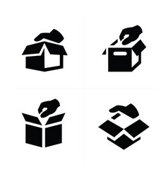 hand and box icon design vector image vector image
