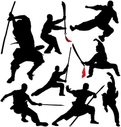 Kung fu Shaolin Martial Arts Fighter Silhouettes vector image vector image