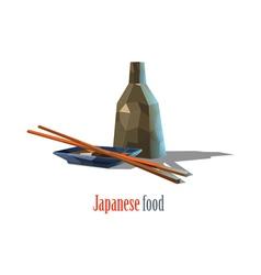 Polygonal of japanese food asian cuisine vector
