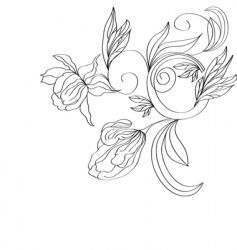 sketch with stylized flowers vector image vector image