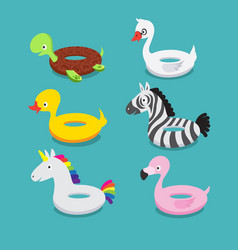 swimming pool floats inflatable animals flamingo vector image vector image