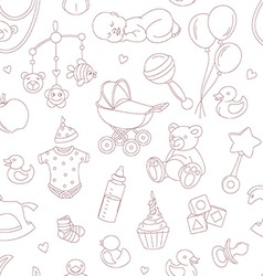 Baby shower seamless pattern vector image