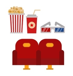 Cinema chairs and entertainment equipment vector image vector image