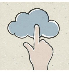 hand clicking cloud vector image