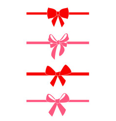 set of decorative red bows vector image