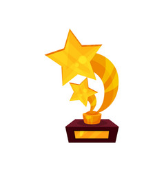 two starrs gold award a pedestal golden first vector image vector image