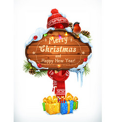 Christmas wooden sign Merry Christmas and Happy vector image vector image