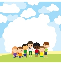 Cute kids advertising template vector image