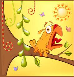 Little yellow birdie cartoon vector image vector image