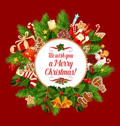 merry christmas holiday wish greeting card vector image