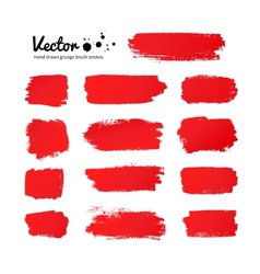 Red paint brush strokes vector image vector image