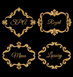 Set collection of ornamental vintage frames with vector