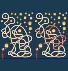 sky lanterns maze vector image vector image