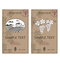 wine labels set vector image vector image