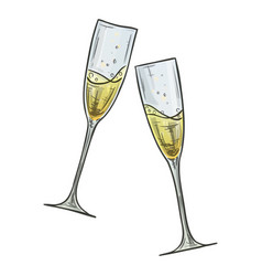 colorful sketch of two glasses of champagne vector image
