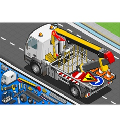 Isometric Platform Lift Truck in Rear View vector image vector image