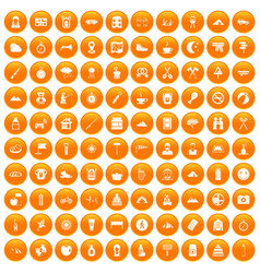 100 family camping icons set orange vector