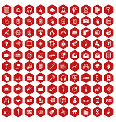 100 mobile icons hexagon red vector