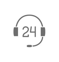24 hours service support grey icon vector
