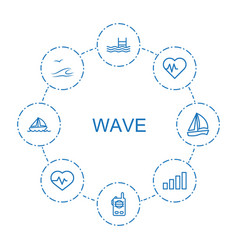 8 wave icons vector