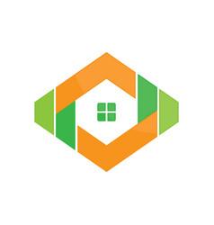 Abstract hexagon housing vector