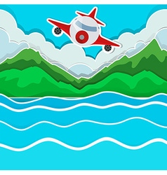Airplane flying over the lake vector image