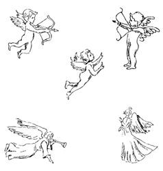 Angels Pencil sketch by hand vector