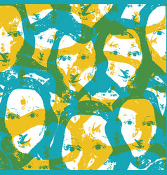 Aqua and saffron color screenprint style abstract vector