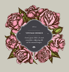 badge over design with roses vector image