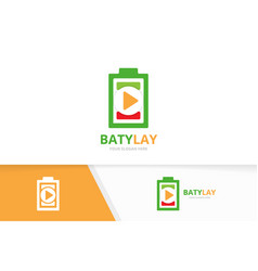 battery and play button logo combination vector image