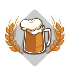 Beer with foam in glass brewery logo vector