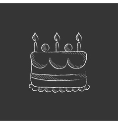 Birthday cake with candles Drawn in chalk icon vector