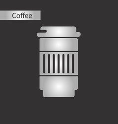 black and white style coffee to go vector image