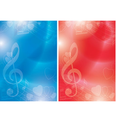 blue and red flyers with contours of hearts vector image