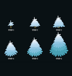 blue christmas tree cartoon design vector image