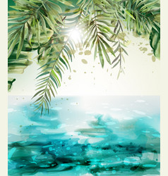 Blue seaside summer tropic card watercolor vector