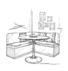 Cafe or kitchen interior Table and sofa sketch vector