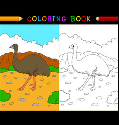 Cartoon emu coloring book australian animals seri vector